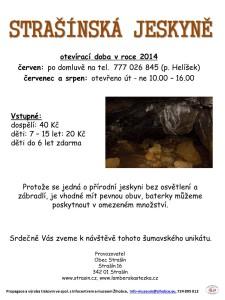 Plakát Strašínská jeskyně_2014